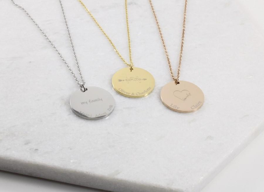Hochzeit - Family Names Coin Necklace - Engraved Round Pendant - Custom Disk Centennial Mothers Day - Custom Anniversary Gift