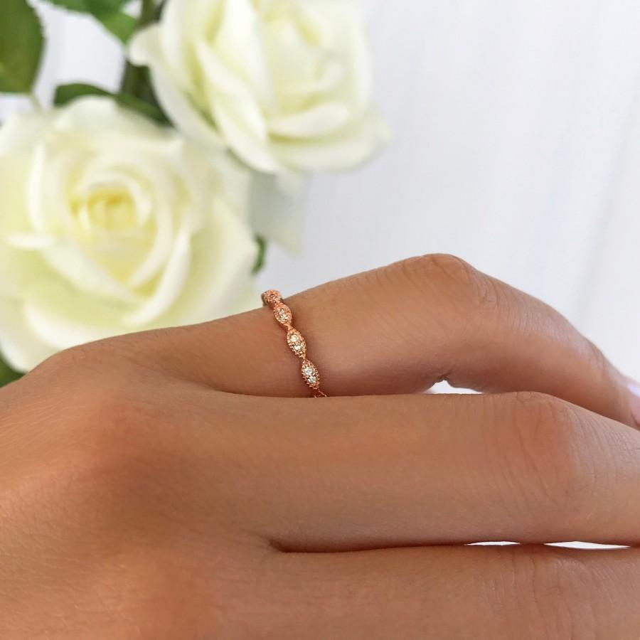 Hochzeit - Delicate Art Deco Wedding Band, 1.5mm Stacking Layering Ring, Engagement Ring, Man Made Diamond Simulants, Sterling Silver, Rose Gold Plated