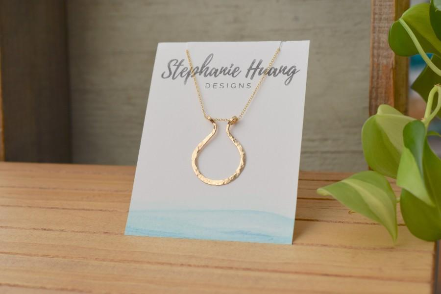 Wedding - Magic Ring holder necklace, handmade pounded / hammered, yellow and rose 14kt Gold filled or sterling silver, engagement ring, wedding ring