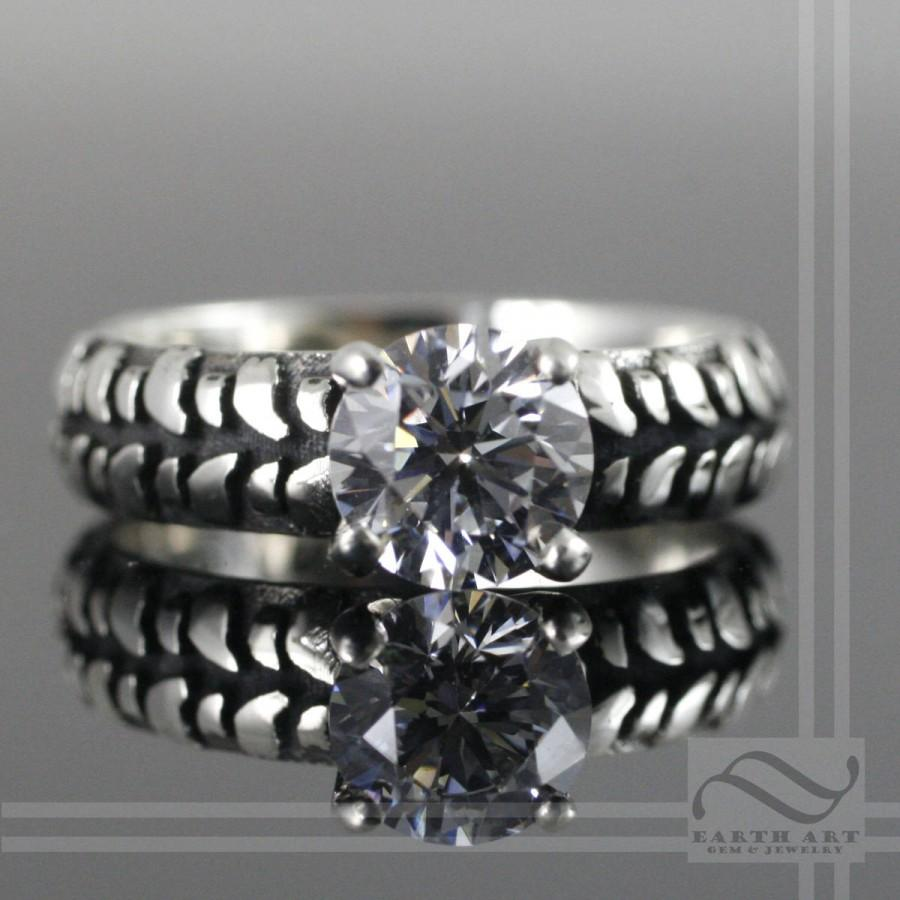 Wedding - Ladies Mud Bogger Tire Tread Solitaire Engagement Ring - Sterling Silver or gold