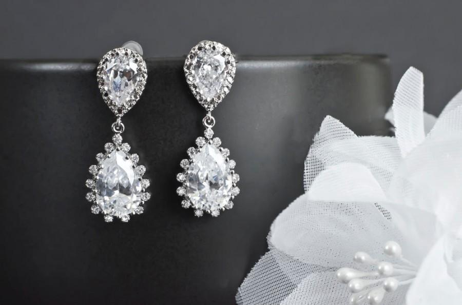 Wedding - Bridal Earrings, Bridesmaid Earrings, Rhodium Plated Cubic Zirconia Ear Posts and Large Cubic Zirconia Teardrops Bridal Earrings