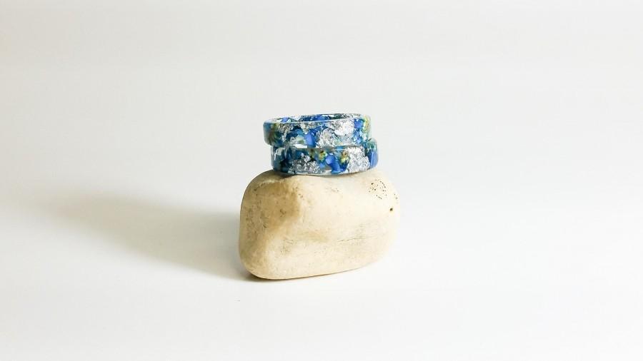 Свадьба - pressed flower ring, real flower ring band, resin ring, resin jewelry, real flower jewelry, floral ring, nature ring, resin rings