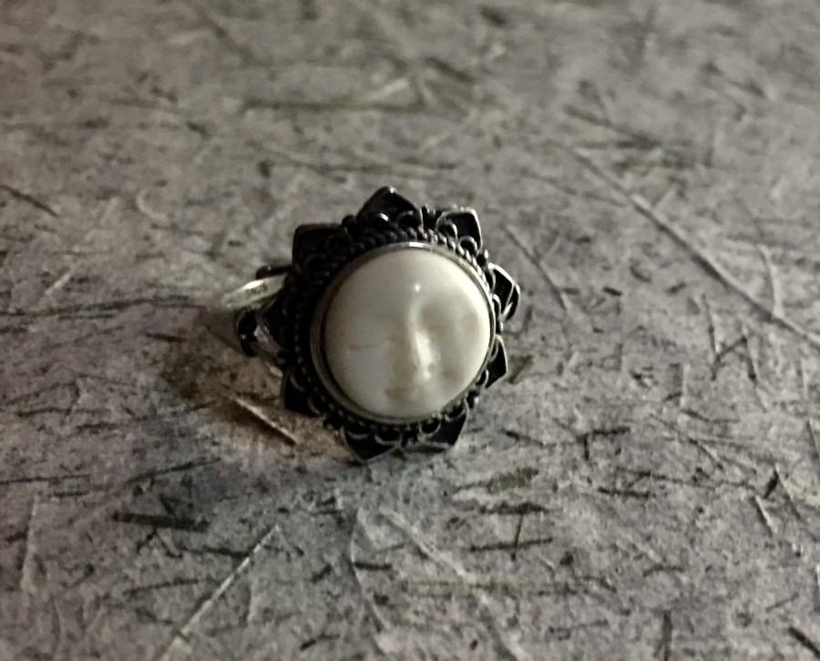 زفاف - Carved Moon Face Sterling Silver Adjustable Ring