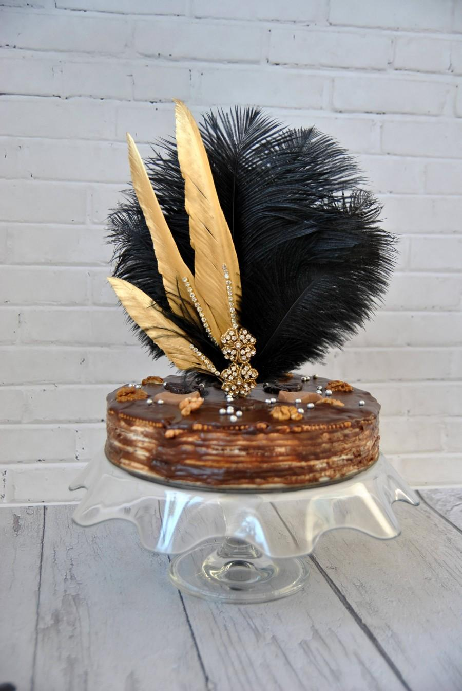Wedding - Gold Feather Cake Topper Gatsby 1920s Customized Wedding Cake Topper, Personalized Cake Topper for Wedding, Ostrich Peacock Cake Topper