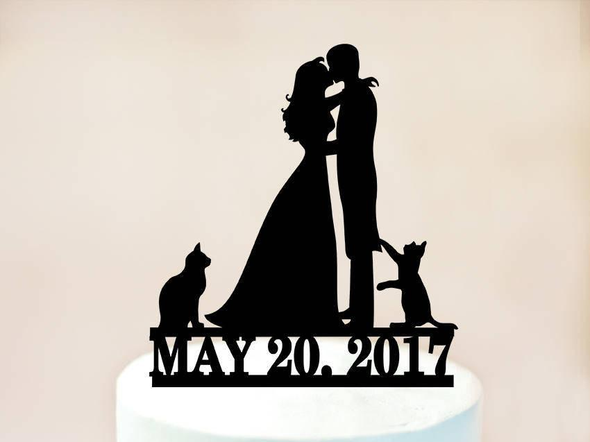 Wedding - Wedding cake topper with date,Cake topper with cats,silhouette cake topper with two cats,cats cake topper,Topper for wedding cats (1133)
