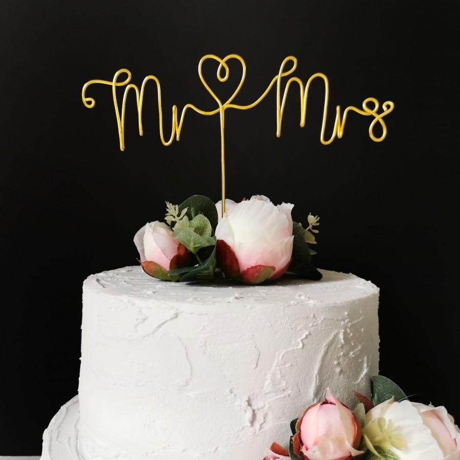 Wedding - Mr and Mrs Cake Topper - Wire Cake Topper - Wedding Cake Topper - Wedding Decor - Minimalist - Elegant - Black Silver Rose Gold Copper