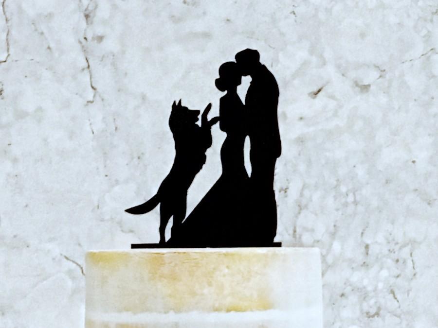 Wedding - Bride and Groom Silhouette Wedding Cake Topper with Dog, Wedding Cake Topper with German Shepherd, Cake Topper win Dog, Pet Wedding