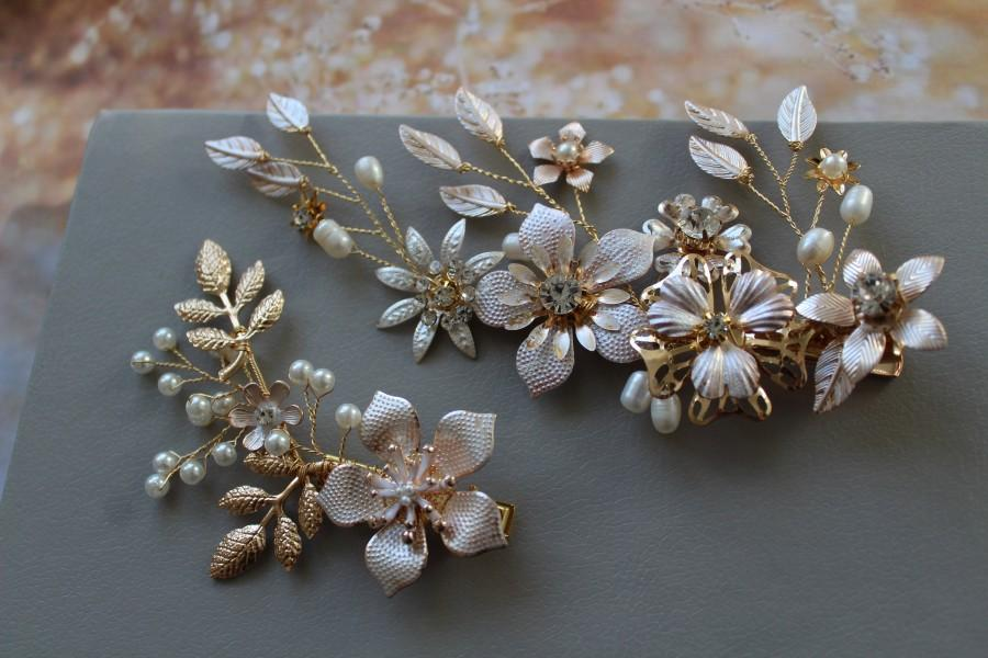 Mariage - Gold Wedding Hair Clip, Bridal Hair clip, Wedding Hair piece , Floral hair clip, Bridal Headpiece ,Wedding Hair Accessory UK