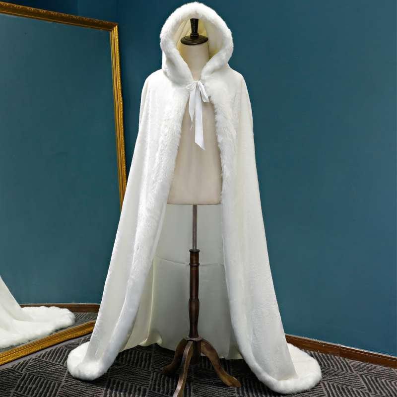 زفاف - Faux Fur hooded cape, Faux Fur Bridal Wrap cape, White Wedding cape, Winter Wedding, Bridal Fur Stole cape,  Wedding wrap shawl stole cape