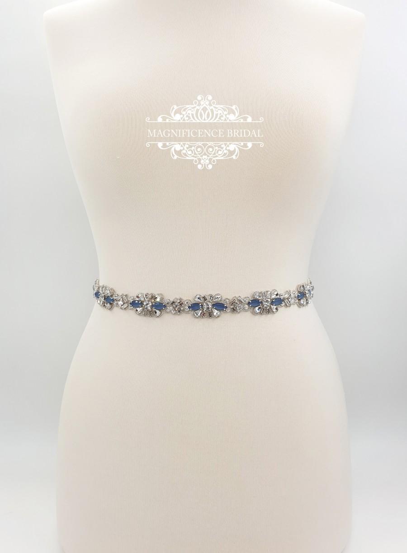 Hochzeit - Blue bridal belt, Bridal belt, bridal sash, Dusty blue belt, wedding belt, rhinestone belt, crystal belt, wedding dress belt, LEIA