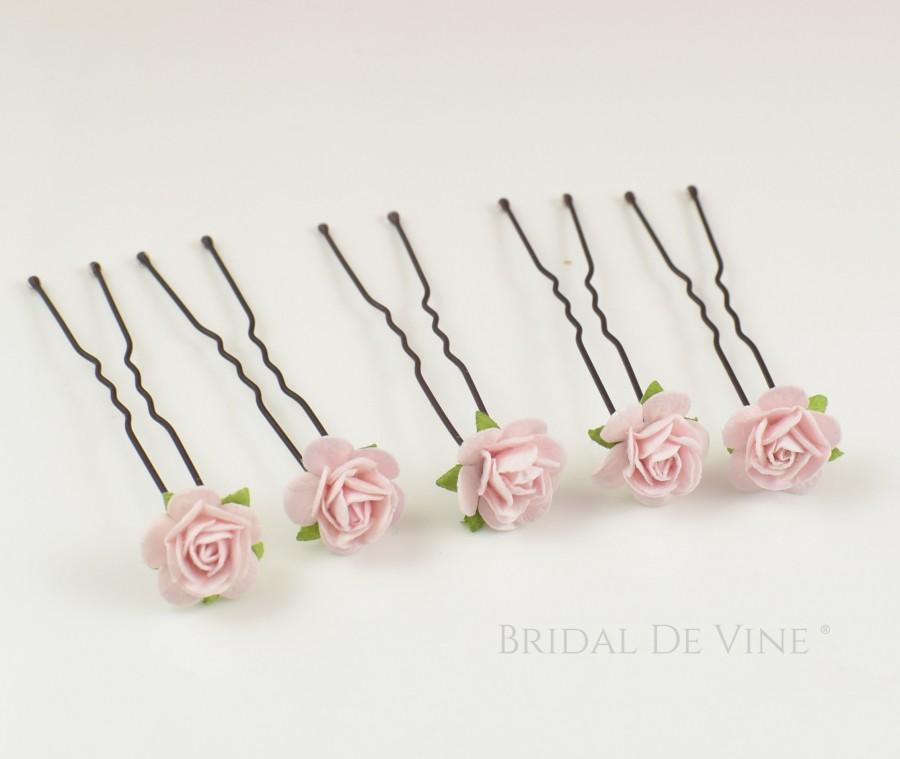 Свадьба - Dainty Mini  Bridesmaids Flower Hair Pins Colour Choice Red Pink Blue Purple Orange Yellow