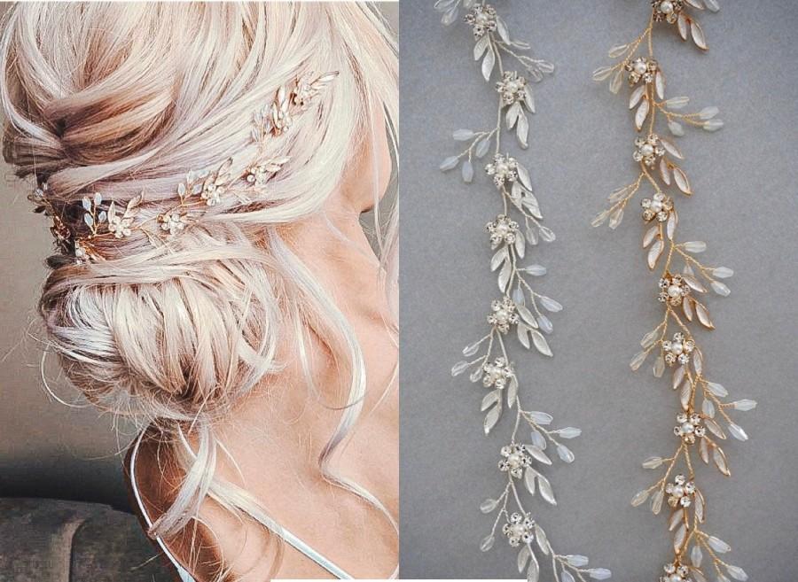 Hochzeit - Wedding Hair Accessories, Hair Vine, Headband, Bridal hair accessories, Crystals, Flowers,  Bridal hair piece