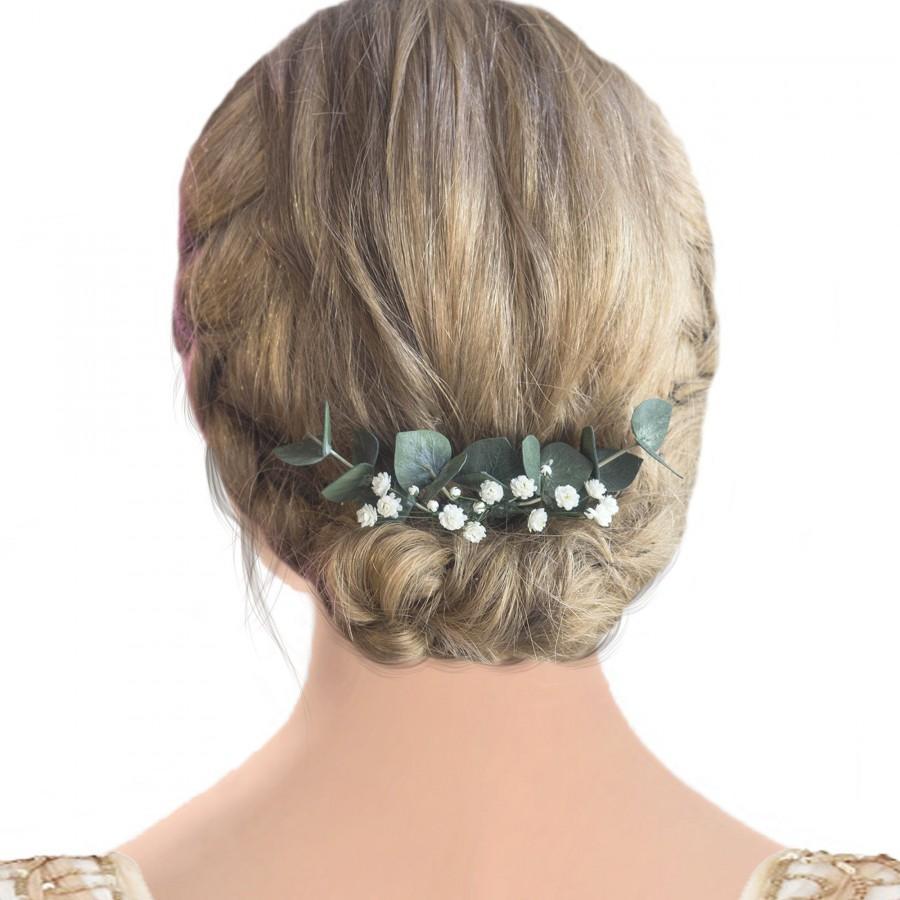 Mariage - Bridal hair piece eucalyptus greenery babys breath comb
