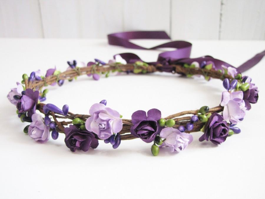 Hochzeit - Plum Floral Crown, Two Flower Color Headband, Purple Floral Crown, Lavender Wedding Headband, Bridesmaid Flower Crown, Flower Girls Headband