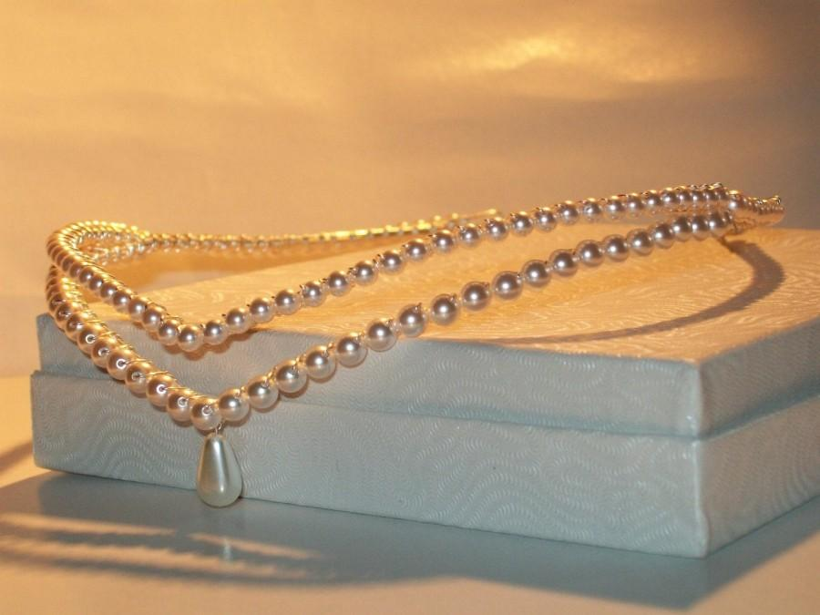 Hochzeit - Handmade pearl double wedding bridal / forehead tiara / circlet / brow band