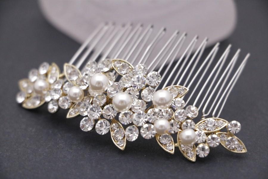 Wedding - wedding hair clip on side wedding hair comb gold Wedding comb Rhinestone hair pins Small hair comb Bridal hair comb Pearl hair accessories