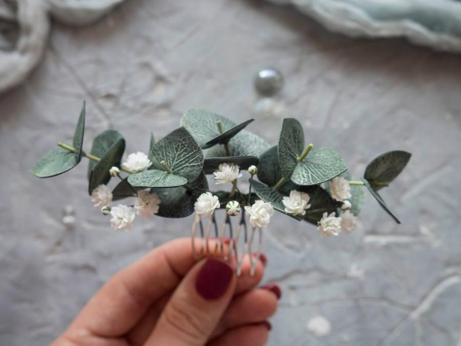 Hochzeit - Bridal hair piece eucalyptus babys breath flower comb clip