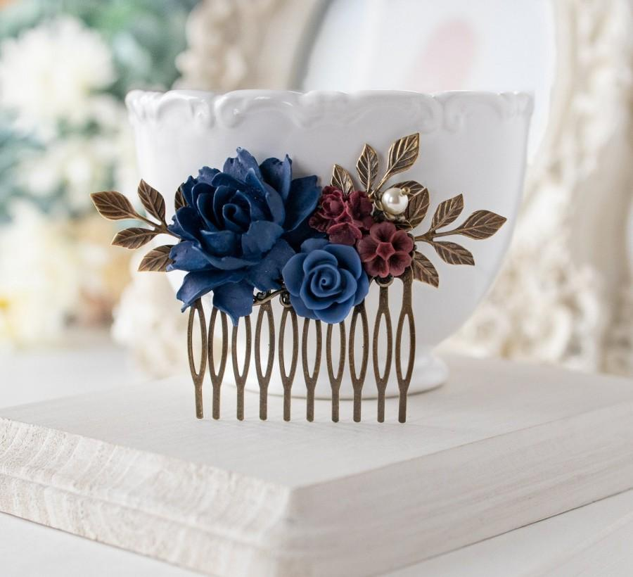 Свадьба - Navy Blue Burgundy Wedding Hair Accessory, Bridal Hair Comb, Antiqued gold Leaf Pearl Rose Flower Hair Comb, Bridesmaid Gift, Gift for her