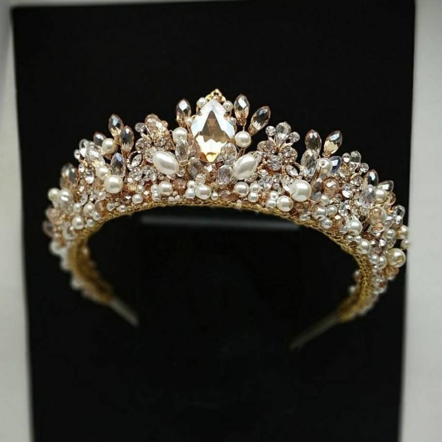 Hochzeit - Pearl tiara Gold crown Gold bridal crown Gold tiara Pearl crown Gold bridal tiara Gold headpiece Gold crystal crown Bride tiara Crown pearl
