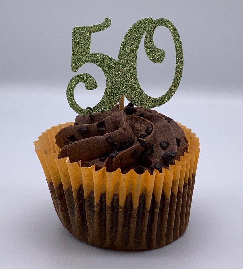 زفاف - Cupcake toppers - - Personalised - Any age - 1/5/13/16/18/21/30/40/50/60 two designs - Glitter topper - Celebrate - Birthday