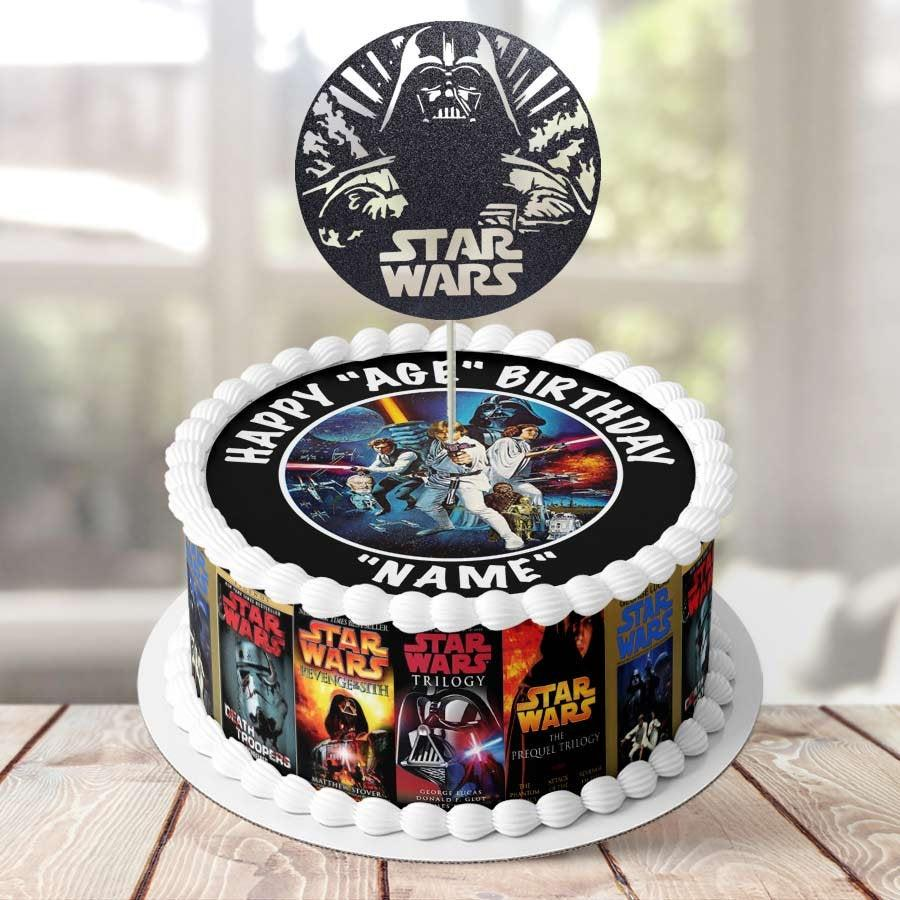 Свадьба - 7.5' Diameter Complete Edible Icing Cake Decoration, Topper, Wrapper or Glitter Topper - Starwars