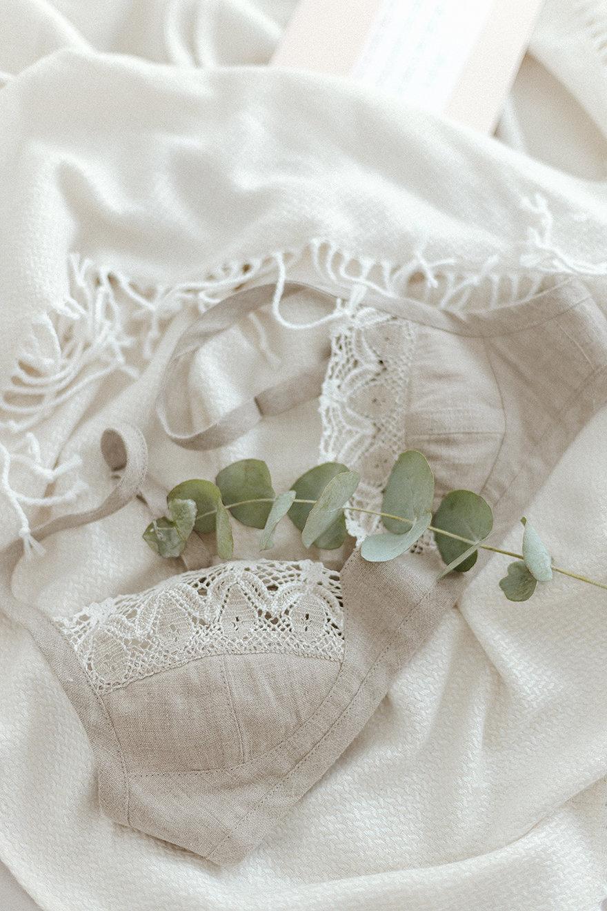 زفاف - Linen Lace Bra, Organic Linen Bralette For Women, Lacy Linen