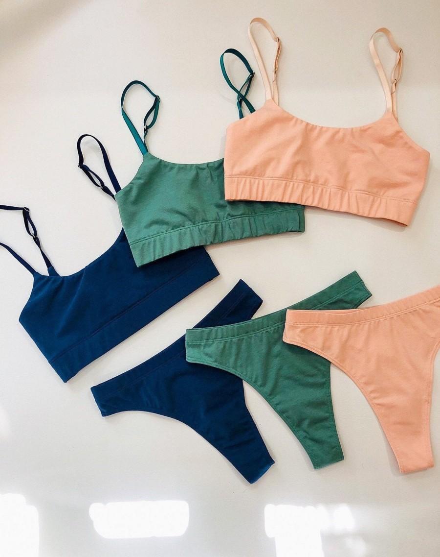 Hochzeit - Organic cotton lingerie, cotton underwear, soft lingerie, cotton bra, cotton panties, natural wireless bra, sustainable handmade lingerie