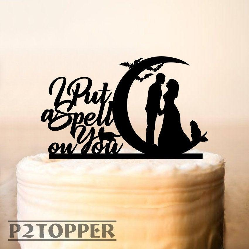 زفاف - I put a spell on you Cake Topper,Halloween Wedding Cake Topper,Wedding Cake Topper,Personalized Cake Topper,Funny Cake Topper,Mr And Mrs 486