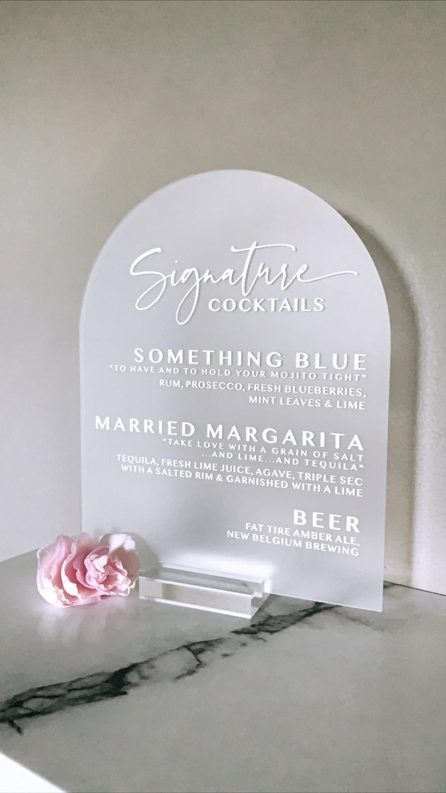 Mariage - Custom Bar Menu Wedding Sign - 8x10 Dome - Bar Sign - Signature Cocktails - Engraved Acrylic - Wedding Decor