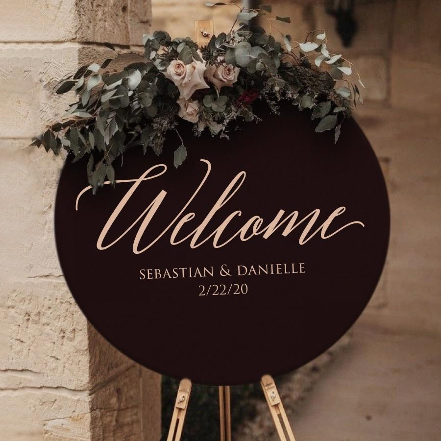 Mariage - Round Wedding Welcome Sign by Rawkrft - Rustic Wood Wedding Sign - Custom Wedding Sign - Bridal Shower Sign - UV Stained And Fade Resistant