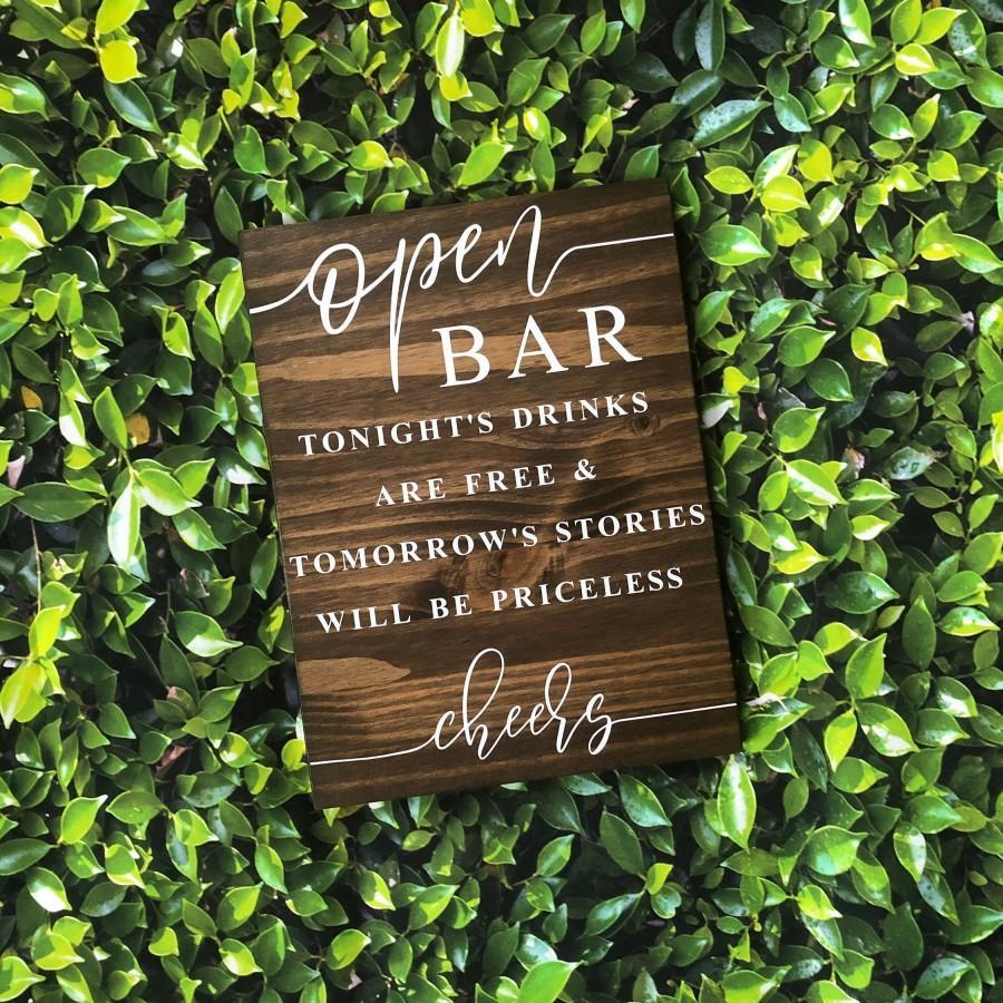 Mariage - Open Bar Wedding Sign, Wedding Sign, Wooden Wedding Sign, Open Bar Sign, Funny Open Bar Sign, Priceless Memories Bar Sign