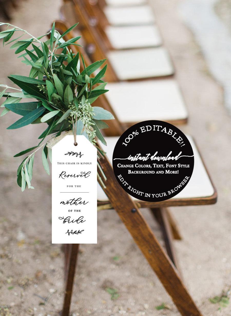 Mariage - Wedding Ceremony Seating Tag, Wedding Ceremony Reserved Seat Tag, Reserved Chair Tags, Wedding Chair Tag Template  Reserved Sign Template