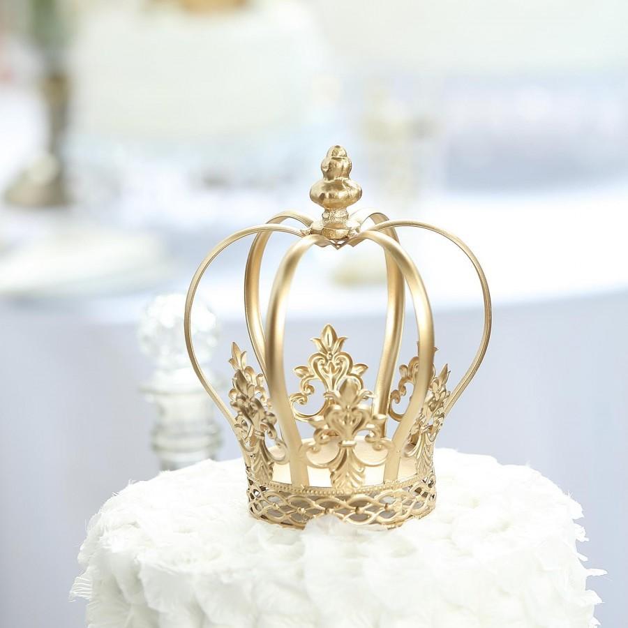 "Mariage - 8"" Gold Cake Toppers, Royal Crown Cake Toppers, Fillable Cake Crown, Metal Cake Toppers for Anniversary, Wedding, Birthday, Cake Decor"