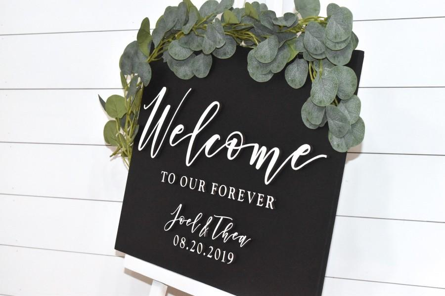 Mariage - Painted 3D Wedding Welcome Sign - Custom Wood Wedding Sign - Welcome to Our Forever Sign - Black Sign - White