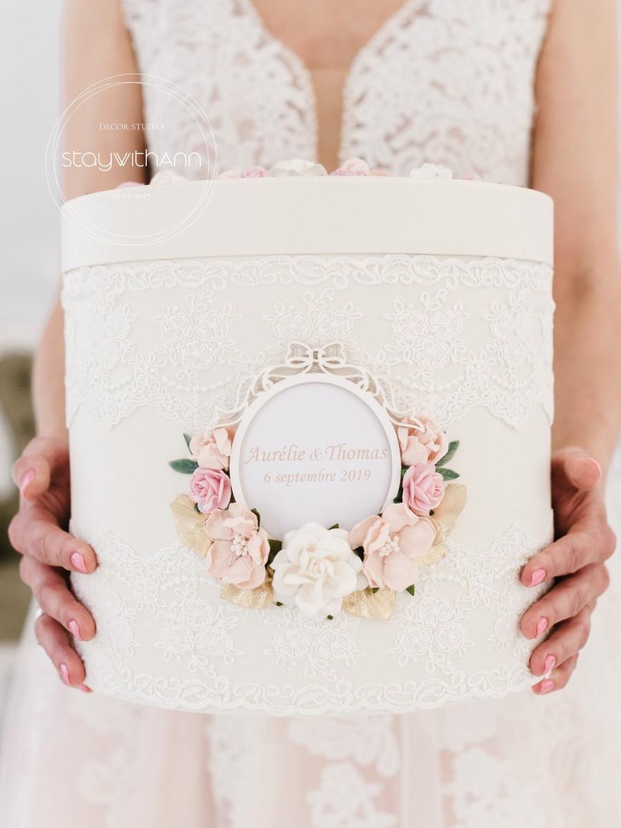 Mariage - Card Box For Wedding Rustic Chic Reception Card Holder Wedding Box Personalized Wishing Well Box Wedding Money Box Neutral Card Post Box 1pc