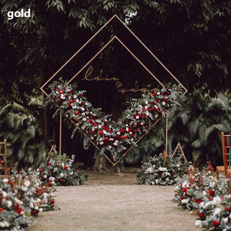 Wedding - Diamond Wedding  iron arch Wedding geometry arch Ceremony Wedding Arch decor Gold colour metal arch Outdoor Wedding Arch wedding backdrop