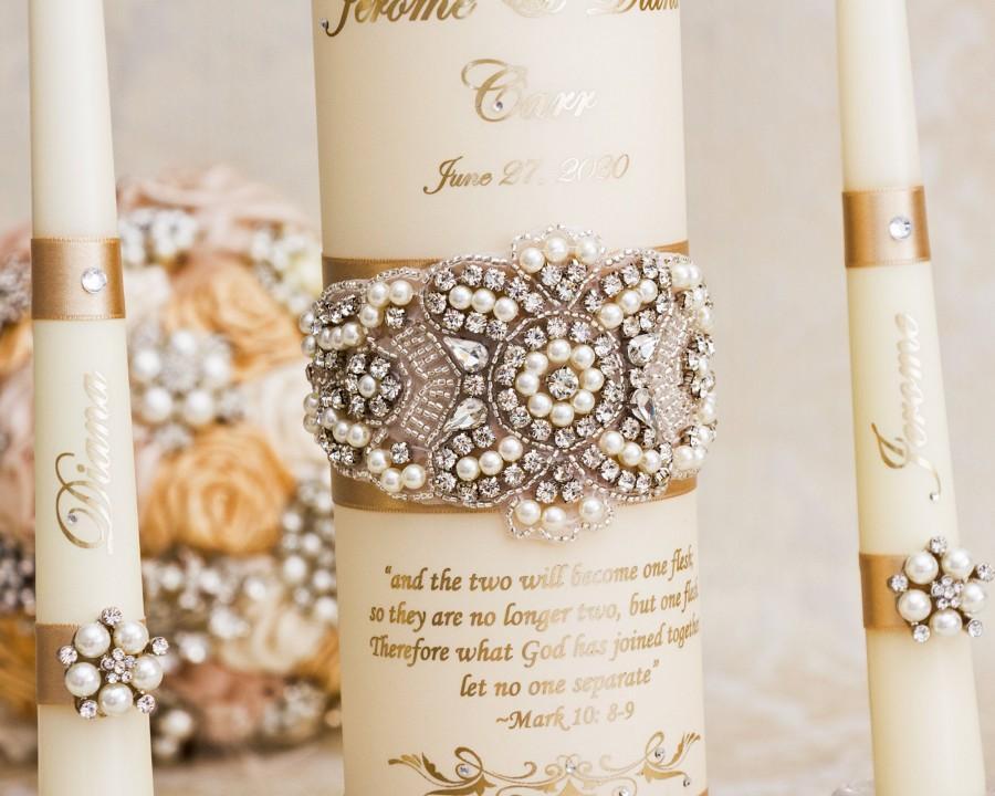 Свадьба - Pearl Wedding Unity Candle Set, Champagne Wedding Unity Candles Personalized Wedding Candle Set Wedding Décor