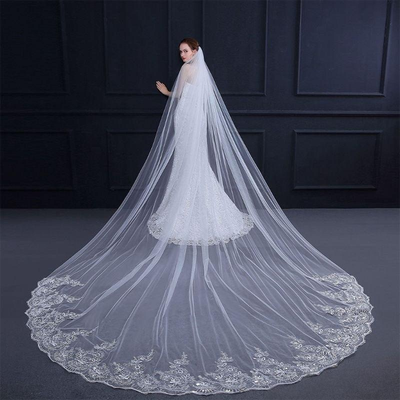 Wedding - Ivory Cream One Layer 4  Metre Cathedral Bridal Veil With Flower Lace Trim & SequinEdging
