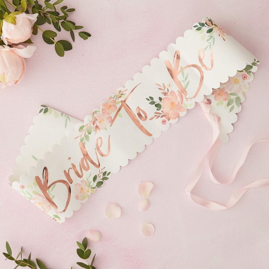 Wedding - Rose Gold Bride to Be Sash, Floral Bachelorette Sashes, Hen Party Sashes, Bride to Be Sashes, Bachelorette Party, Bridal Shower, Team Bride