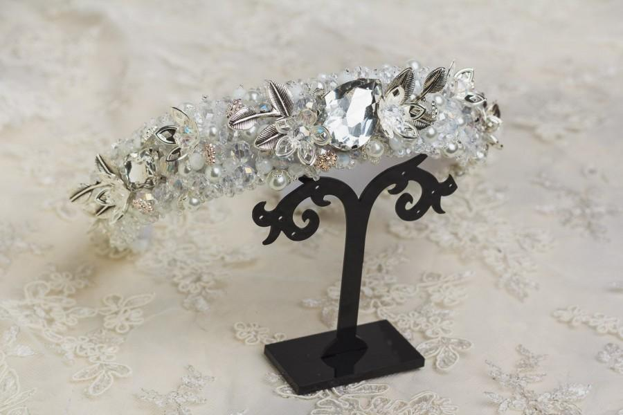 Свадьба - White Beaded headband for women Crystal tiara for bride Silver Baroque Jeweled headband Wedding hair accessories Embellished headband crown