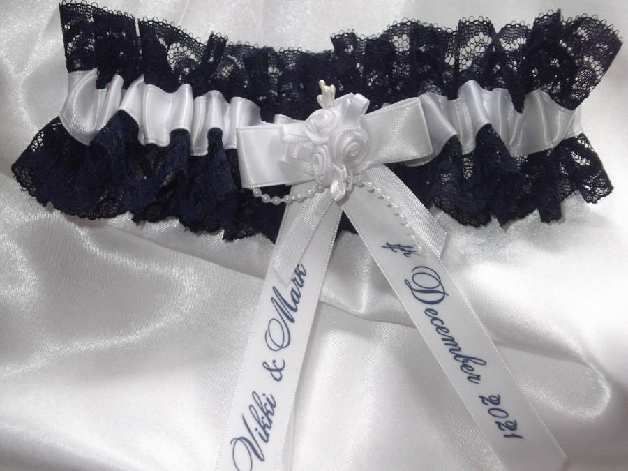 زفاف - Personalised Navy Blue Lace And White Satin Wedding Garter Handmade to order with names and wedding date Nautical Wedding Made In The UK