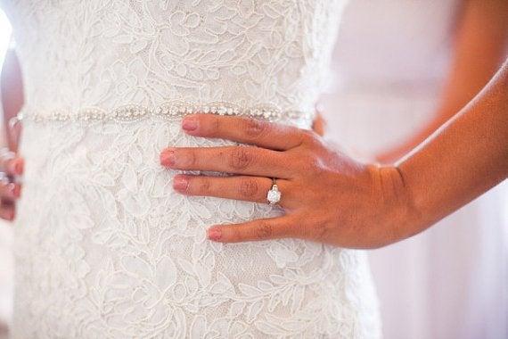Hochzeit - Thin Bridal Belt Sash Rhinestone Belt Sash Flower Girl Bridesmaid Gift Sash belt Crystal Dress Sash Belt Flower girl Baby Sash Belt