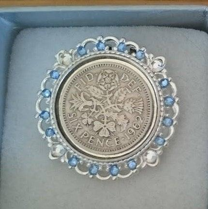 Wedding - Lucky Sixpence Shoe Clip: Vintage style crystal or pearl wedding sixpence on a shoe clip inc. gift box
