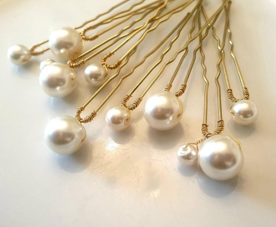 Wedding - Set of Pearl Wedding hair pin Pearl Bridal hair pin Pearl hair pin Pearl Wedding hair.