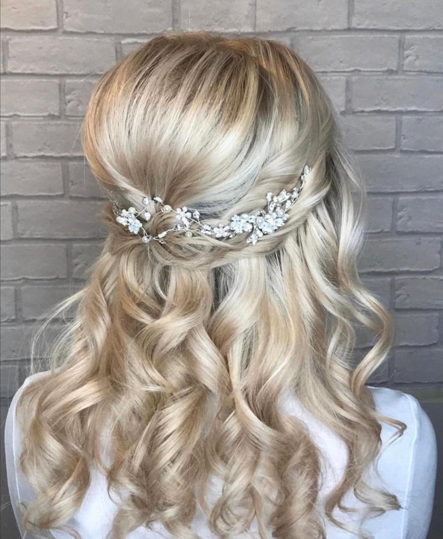 Wedding - Emmy Silver Bridal Hair Vine-Silver Bridesmaid Hair Vine-Silver Wedding Hair Piece-Wedding Hair Accessories-Prom Hair Accessories