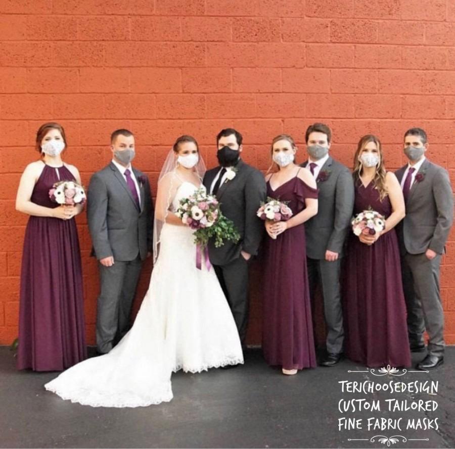 Hochzeit - Bridesmaids / Groomsmen Fabric Face Masks w. Adjustable Straps and Filter Pocket / Wedding Bridal Party Masks / Bridal Gifts / USA Made