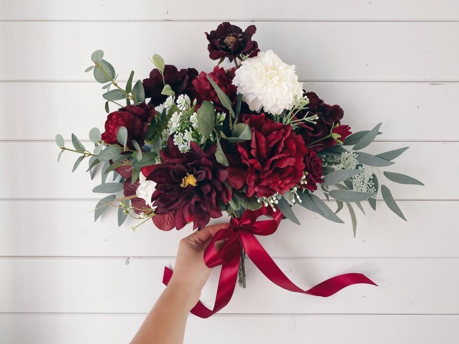 Hochzeit - Wedding bouquet, Burgundy bouquet, Burgundy Wedding bouquet, Wedding Flowers, Deep red Wedding bouquet, Bouquet wedding burgundy