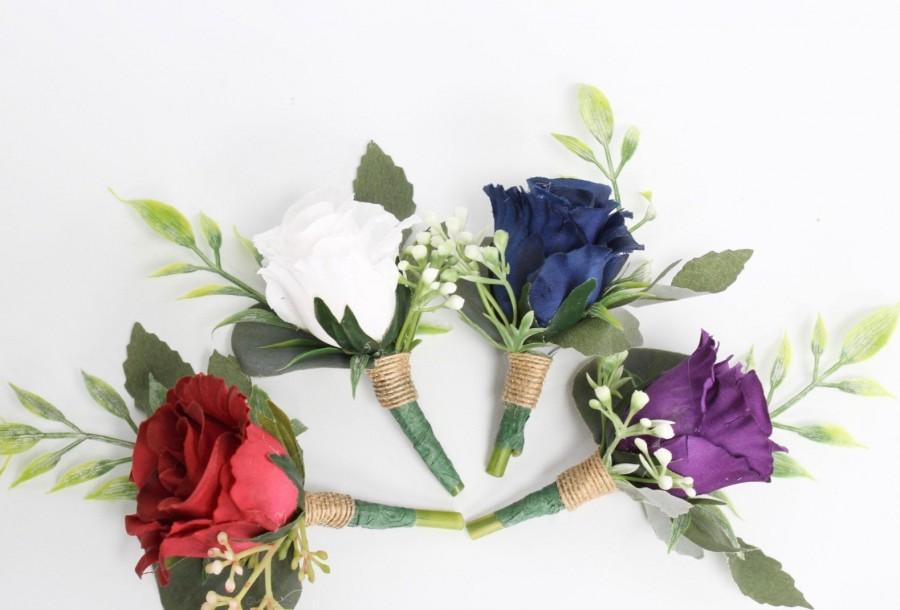 Hochzeit - Boutonniere-Rustic Wedding prom homecoming Silk Flowers Rosebud Eucalyptus Fern Buttonhole baby breath burlap stem