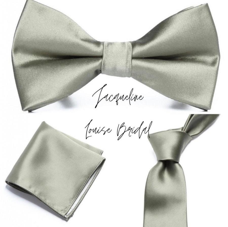 Wedding - Olive Green Groomsmen Bow tie, tie and pocket square set for weddings