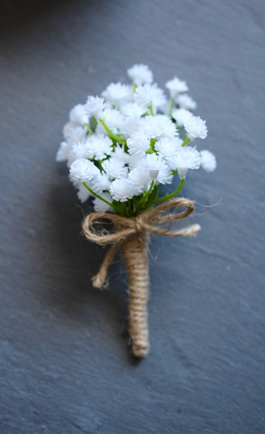 Hochzeit - Babys breath gypsophlia buttonhole boutonniere faux flower